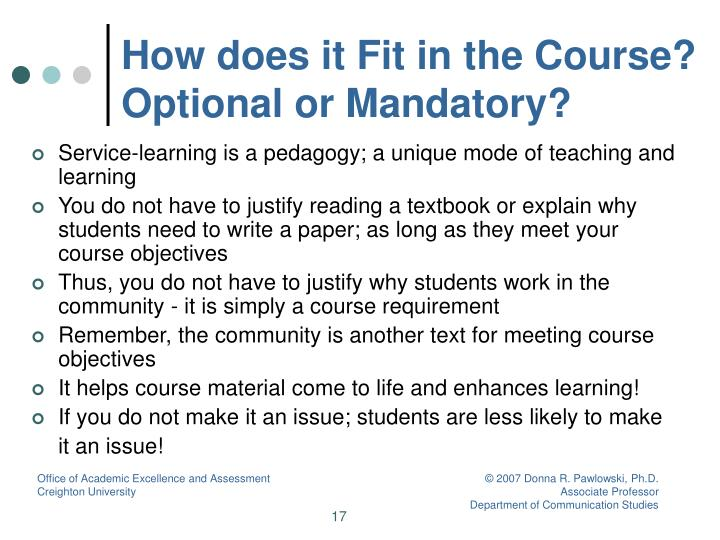 How does it Fit in the Course? Optional or Mandatory?