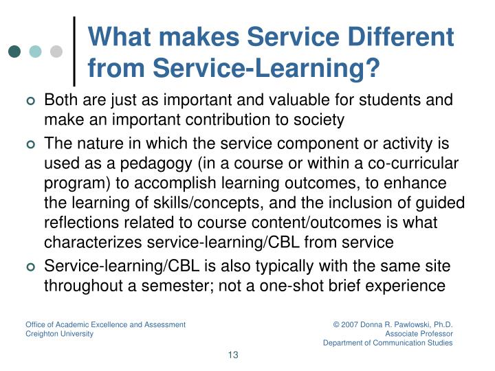 What makes Service Different from Service-Learning?