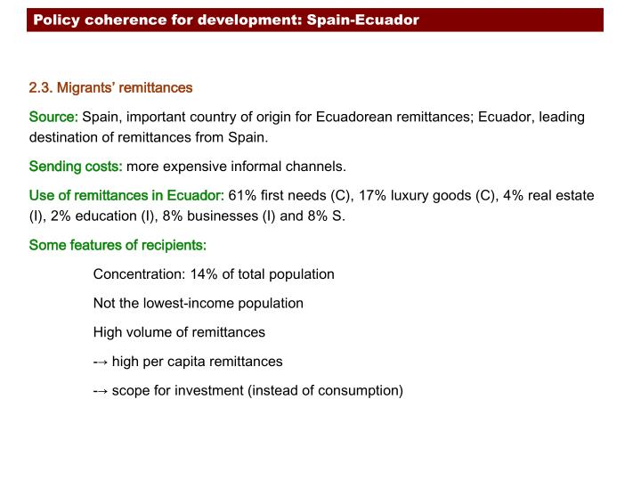 Policy coherence for development: Spain-Ecuador
