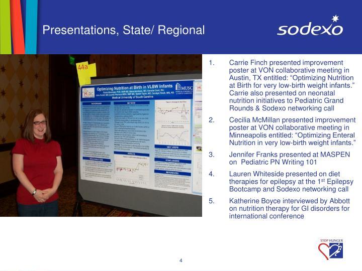 Presentations, State/ Regional