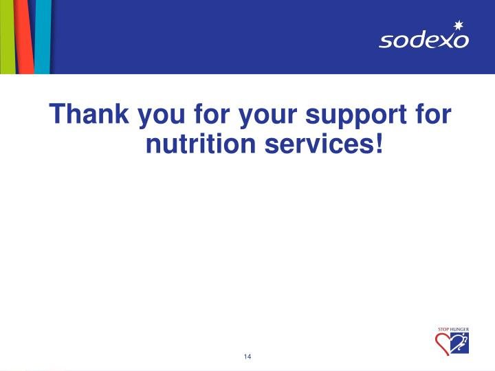 Thank you for your support for nutrition services!