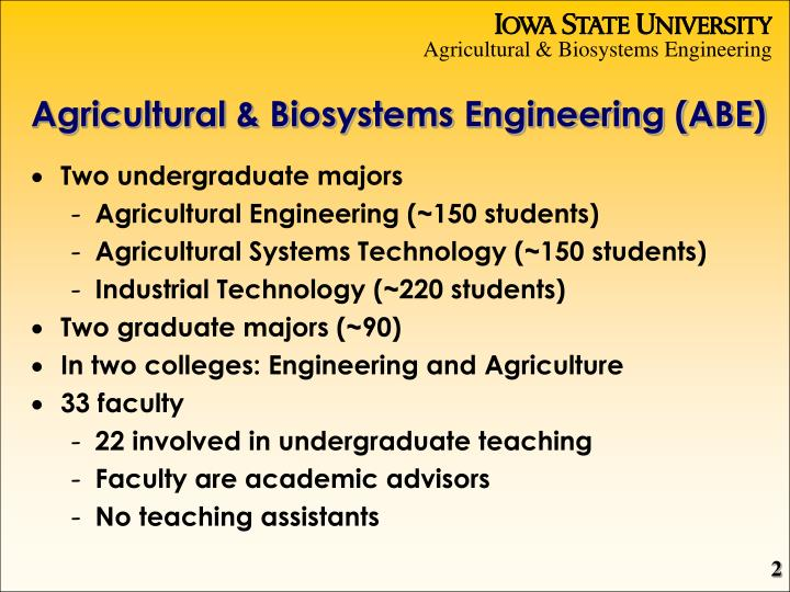 Agricultural & Biosystems Engineering