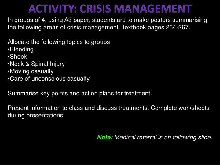 ACTIVITY: Crisis MANAGEMENT