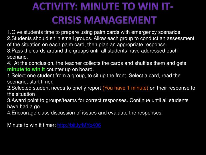 ACTIVITY: minute to win it-
