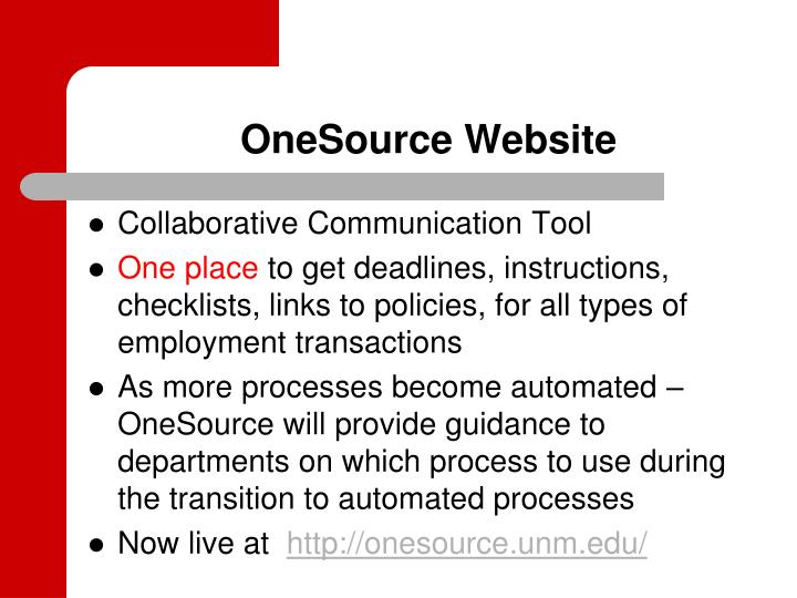 OneSource Website