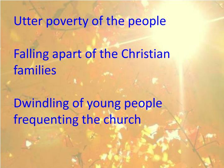 Utter poverty of the people