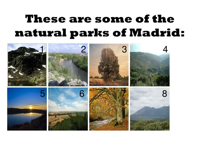 These are some of the natural parks of Madrid: