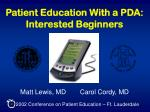 patient education with a pda interested beginners