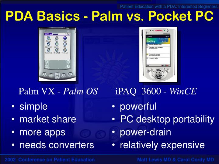 PDA Basics - Palm vs. Pocket PC