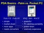 pda basics palm vs pocket pc