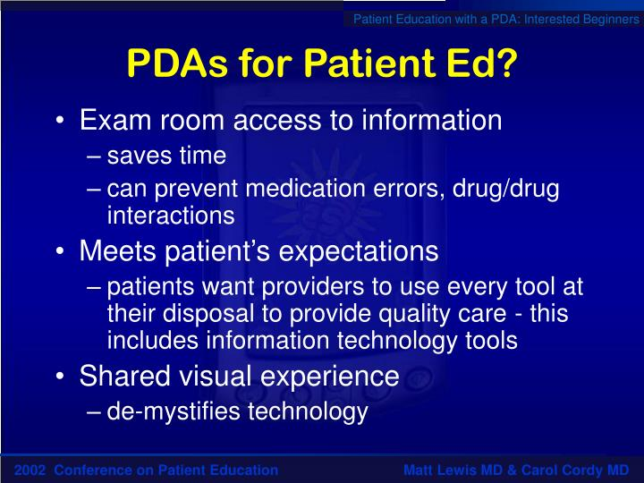 PDAs for Patient Ed?
