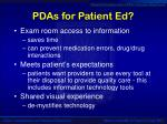 pdas for patient ed