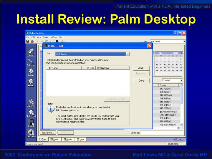 Install Review: Palm Desktop