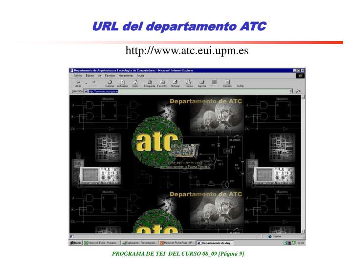 URL del departamento ATC