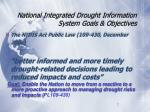 national integrated drought information system goals objectives