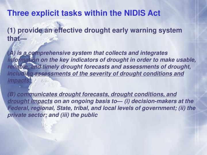 Three explicit tasks within the NIDIS Act