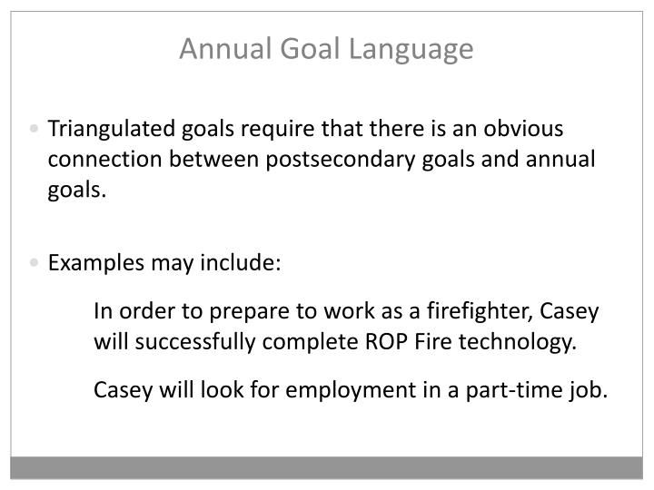 Annual Goal Language