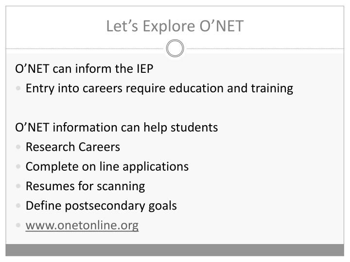 Let's Explore O'NET