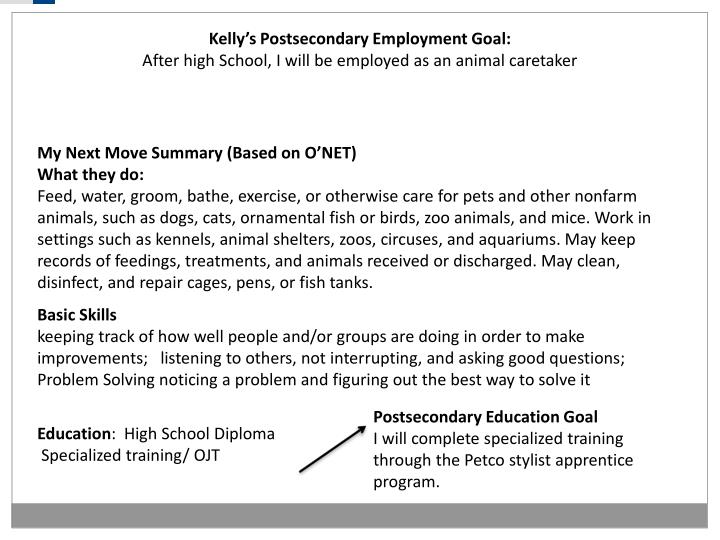 Kelly's Postsecondary Employment Goal: