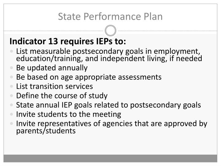 State Performance Plan