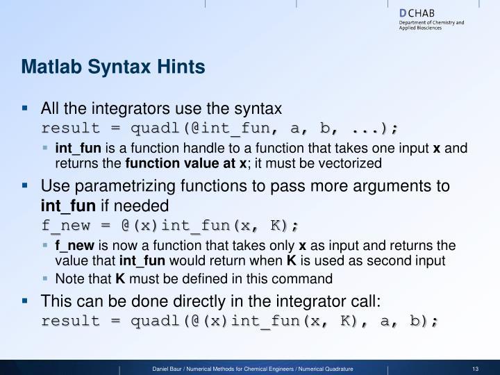 Matlab Syntax Hints