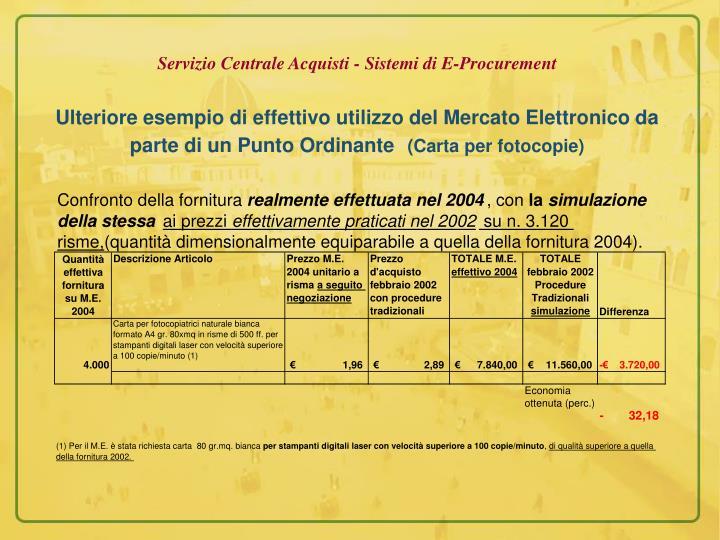 Servizio Centrale Acquisti - Sistemi di E-Procurement