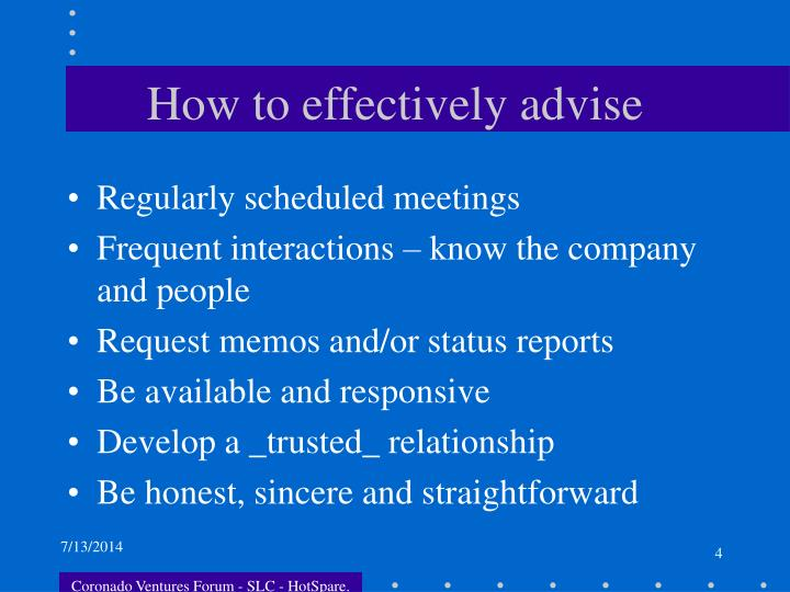 How to effectively advise