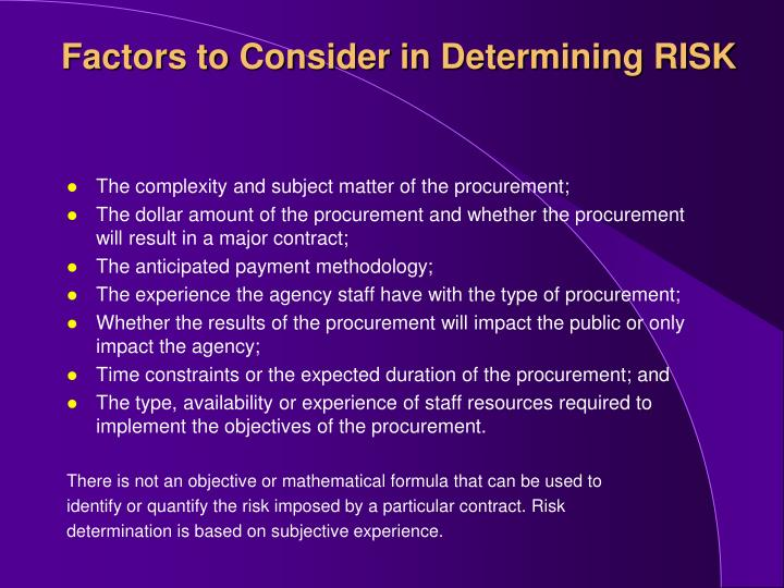 Factors to Consider in Determining RISK