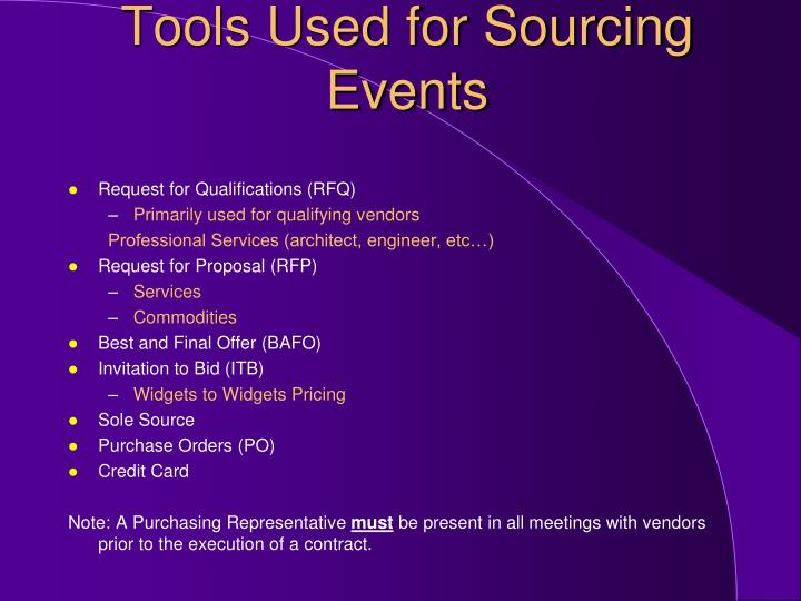 Tools used for sourcing events