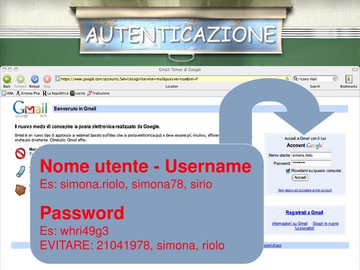 Nome utente - Username