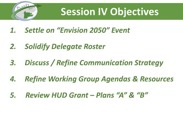 Session IV Objectives