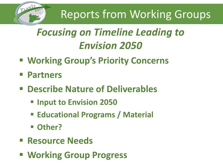 Reports from Working Groups