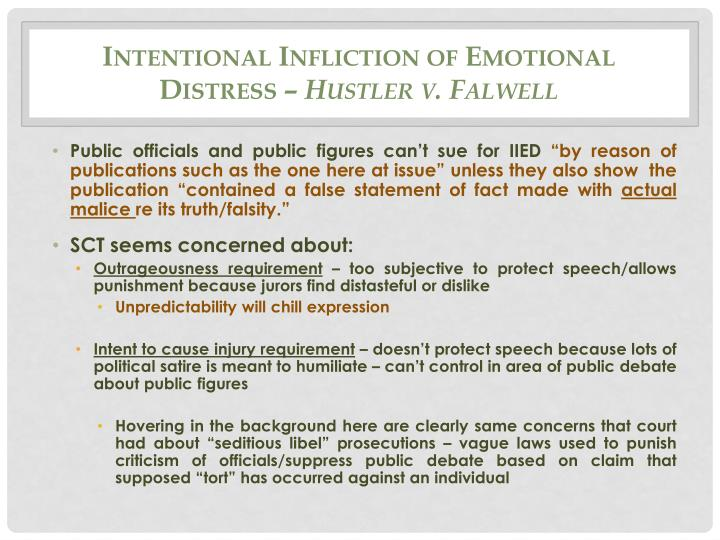Intentional Infliction of Emotional Distress –