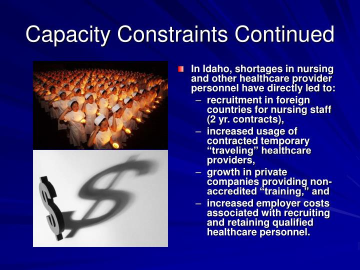 Capacity Constraints Continued