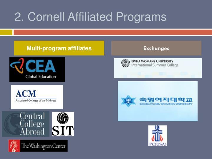 2. Cornell Affiliated Programs