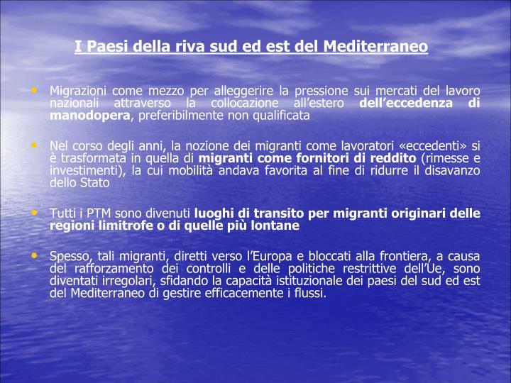 I Paesi della riva sud ed est del Mediterraneo