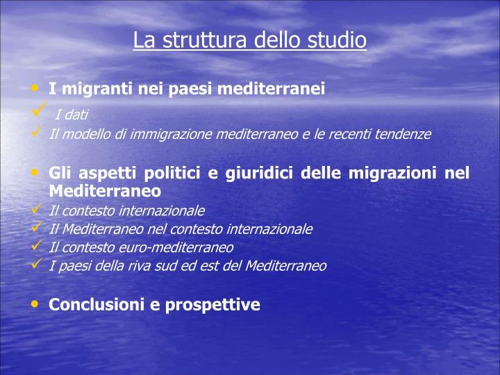 La struttura dello studio