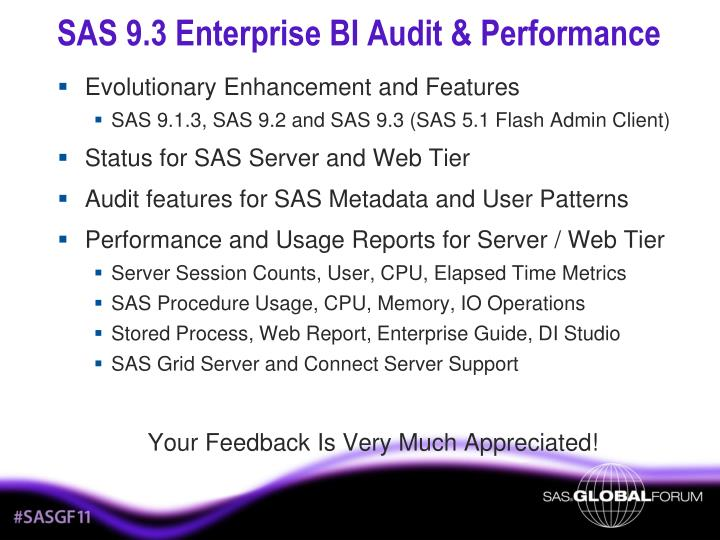 SAS 9.3 Enterprise BI Audit & Performance