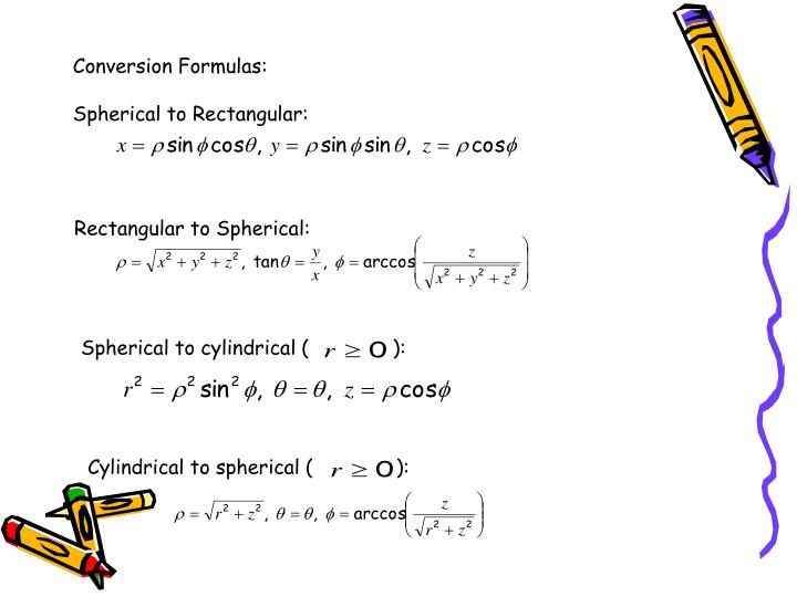 Conversion Formulas: