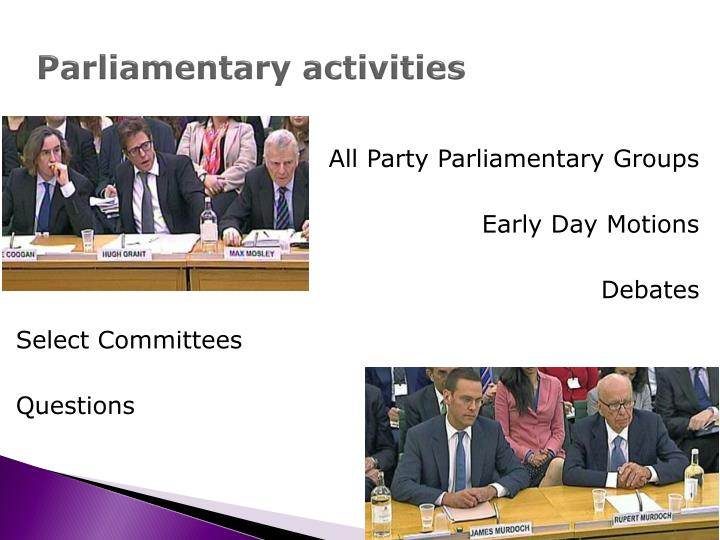 Parliamentary activities