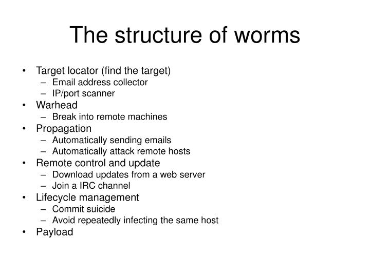 The structure of worms