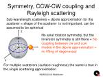 symmetry ccw cw coupling and rayleigh scattering