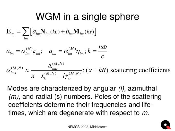 Wgm in a single sphere