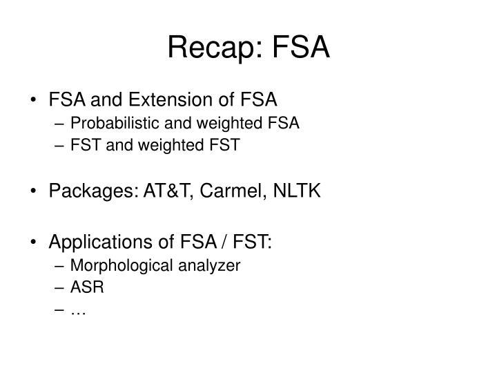 Recap: FSA