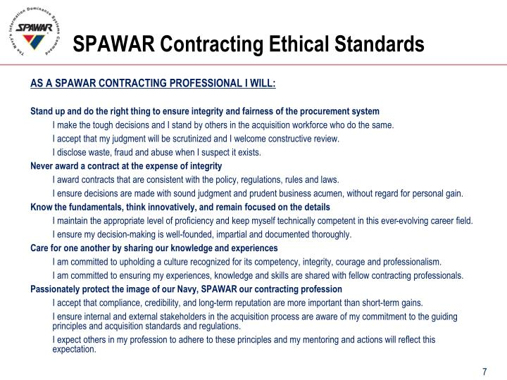 SPAWAR Contracting Ethical Standards