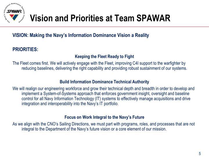 Vision and Priorities at Team SPAWAR