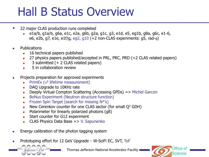 Hall B Status Overview