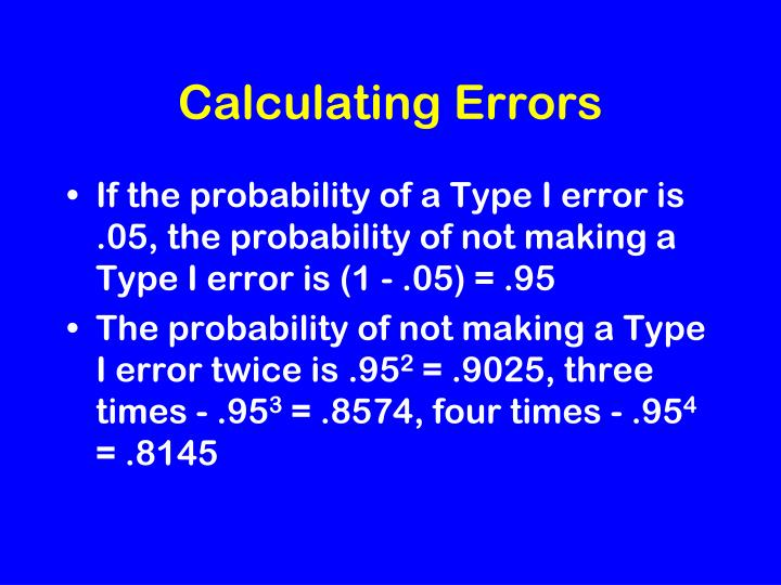 Calculating Errors