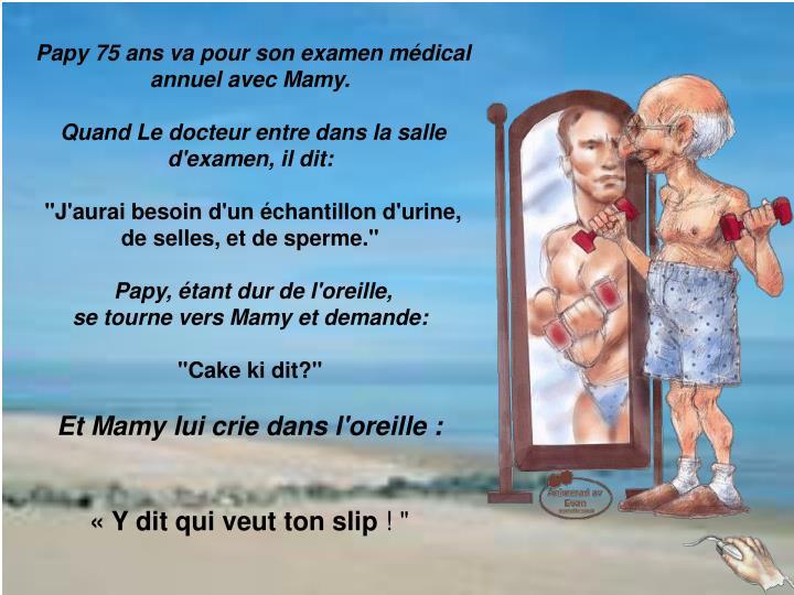 Papy 75 ans va pour son examen médical annuel avec Mamy.