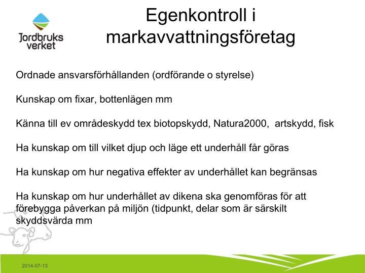 Egenkontroll i markavvattningsföretag